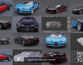 bugatti sport cars set 3D