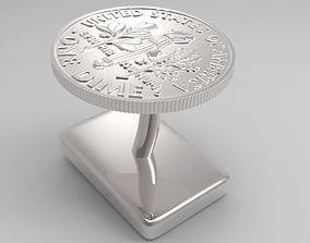 American Dime Cufflink 3D print model