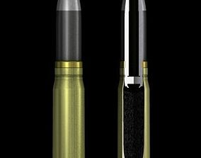 3D model German 20mm MG 151-20 cartridge with cutaway