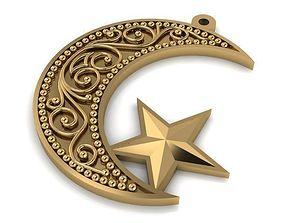 Pendant gold crescent 3D print model