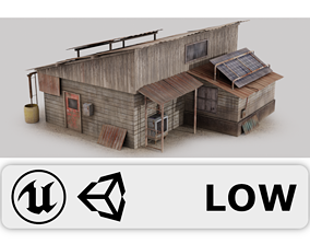 Post Apocalyptic House - Wooden - Old 3D model