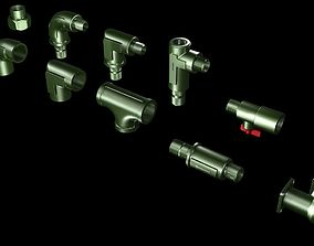 3D model Pipe connectors and valves