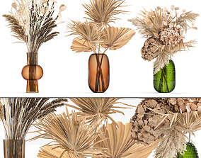 Bouquet of dried flowers in a glass vase 135 3D