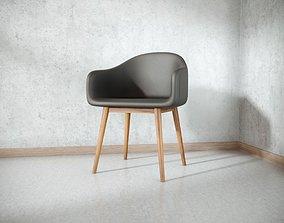 3D asset Black Leather Loft Chair