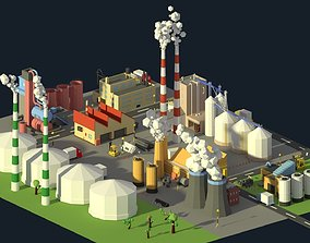 3D model Low Poly Industrial Complex Pack