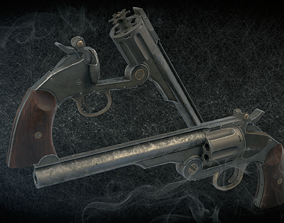 Smith and Wesson Schofield revolver model 3 3D asset