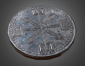 3D asset TRS - Ancient Treasure Coin 02 - PBR Game Ready