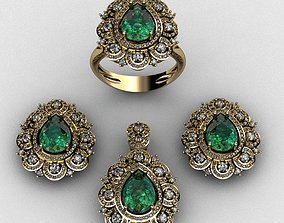 Diamond and emerald set 3D print model gold