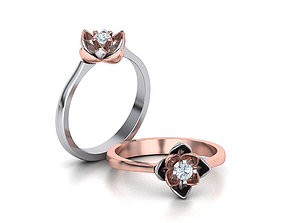 Lotus Engagement ring 3mm stone Flower ring