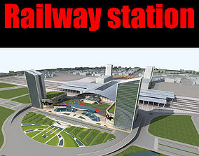 3D Railway station railway