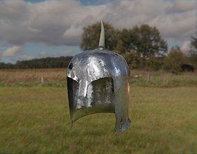 3D model Medieval one horn damaged knight helmet