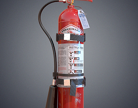 3D model low-poly PBR fire extinguisher tool