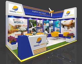 Exhibition stall 3d model 6x3mtr 2 sides open Stand