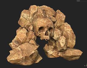 Free Yeallow Rock Skull Gate 3D model