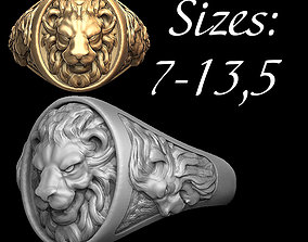 Lion ring sizes fashion 3D print model