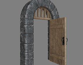 3D asset Stone Doorway with door