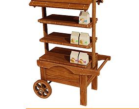 3D model Wooden display cart