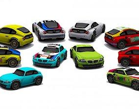 3D asset Collection low poly cars - set 2