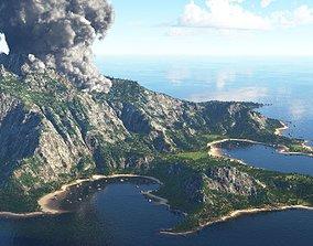 Volcano island in Terragen 3D exterior