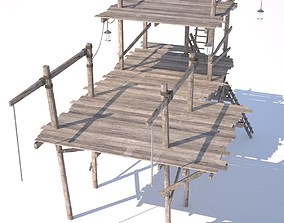 3D Old wooden scaffolding