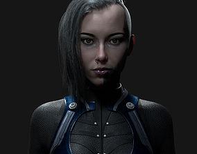 Hyper-realistic female head 3D asset
