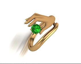3D printable model Ladys hand rind with gem
