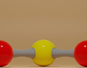 Sulfur Dioxide Molecule SO2 3D asset