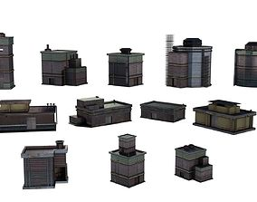 3D asset Industrial Chemical Buildings Pack Sci Fi Game 3