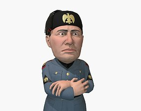 3D asset Benito Mussolini caricature rigged animated game