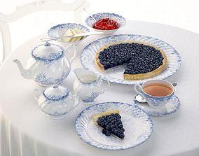Porcelain Dish Set Tea Tarts 3D