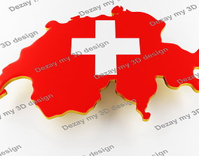 3D Map of Switzerland land border with flag
