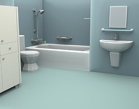 3D asset Cartoon Bathroom