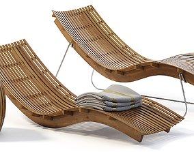 Swing teak stacking chaise longue 3D model