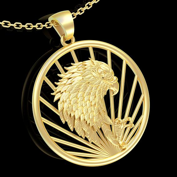 Hawk Pendant jewelry Gold 3D print model