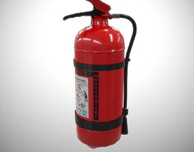 3D asset Painted powder fire extinguisher