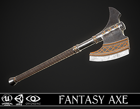 3D model VR / AR ready Fantasy Axe 2B