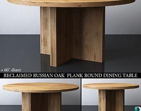 3D model RECLAIMED RUSSIAN OAK PLANK ROUND DINING TABLE