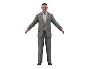 3D asset Businessman in a Grey Suit Low Poly