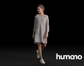 3D model Humano Casual Woman Walking and looking back 0409