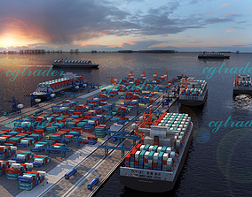 3D asset Port Container Cargo Ship Animation Scene