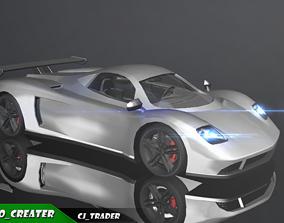 Lowpoly Pagani Zonda Racing Car 3D Model VR / AR ready
