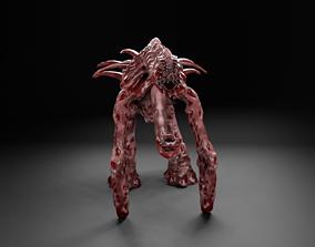 Eyesless walker monster UFO alien creature 3D asset