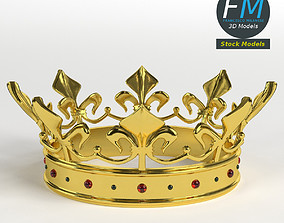 Gold crown with gems 1 3D model