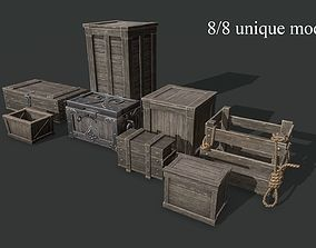 Wooden Boxes 3D asset low-poly