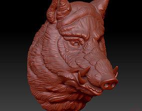 3D printable model head boar