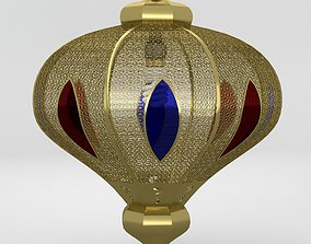 3D Arabic stained glass brass lamp