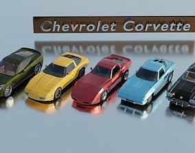 Chevrolet Corvette generations - lowpoly set x 5 3D model