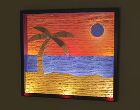 layers 3D asset Beach Scene Light Art Box