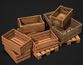3D model VR / AR ready crate Wooden Crate