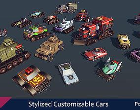 Stylized Customizable Cars post apo v5 3D asset